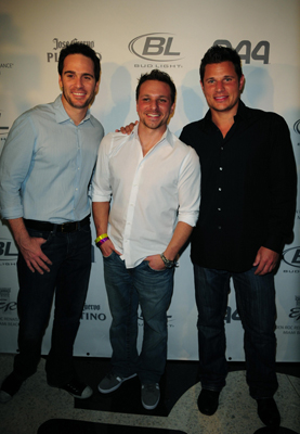 NASCAR driver Jimmie Johnson, singer/TV personality Drew Lachey and singer/TV personality Nick Lachey attend the Hotel 944 Party sponsored by Jose Cuervo and GUINNESS at Eden Roc Renaissance Miami Beach on February 04, 2010 in Miami Beach, Florida. (Photo by: Vallery Jean /Getty for Jose Cuervo)