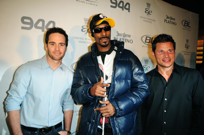 NASCAR driver Jimmie Johnson, rapper Snoop Dogg and singer/TV personality Nick Lachey attend the Hotel 944 Party sponsored by Jose Cuervo and GUINNESS at Eden Roc Renaissance Miami Beach on February 04, 2010 in Miami Beach, Florida. (Photo by: Vallery Jean /Getty for Jose Cuervo)