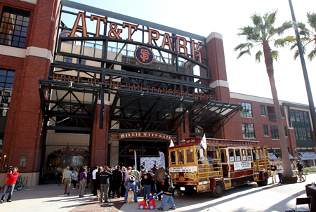 A cable car that carried Daytona 500 champion Jamie McMurray through San Francisco on his victory tour is parked at Willie Mays Plaza in front of AT&T Park on February 17, 2010 in San Francisco, California. (Photo by Ezra Shaw/Getty Images)