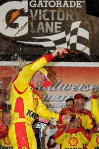 Kevin Harvick, driver of the No. 29 Shell/Pennzoil Chevrolet, showed no signs of the flu he suffered earlier in the week when he celebrated his Budweiser Shootout win on Saturday. (Credit: Rusty Jarrett/Getty Images for NASCAR)