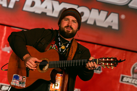 Musician Zac Brown of the Zac Brown Band performs in a pre-race concert Saturday before the Budweiser Shootout at Daytona International Speedway. (Credit: Jerry Markland/Getty Images for NASCAR)