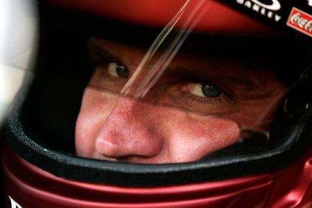 Clint Bowyer gathers his concentration before heading out on track at Atlanta Motor Speedway on Friday for practice. (Credit: Jason Smith/Getty Images for NASCAR)