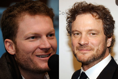 Dale Earnhardt Jr (left) and Colin Firth (right)