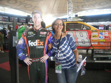Me with a cardboard standee of Denny Hamlin