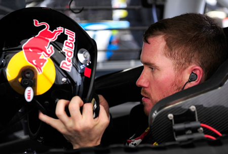 Brian Vickers prepares to practice for the NASCAR Sprint Cup Series Shelby American at Las Vegas Motor Speedway on Friday.(Credit: Rusty Jarrett/Getty Images for NASCAR)