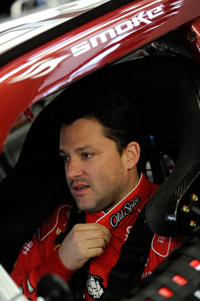 Tony Stewart sits in his car in the garage during Saturday's practice for Sunday's Shelby American at Las Vegas Motor Speedway. (Credit: Rusty Jarrett/Getty Images for NASCAR)
