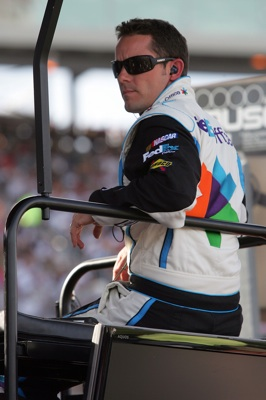 Casey Mears sits on the No. 11 team pit box ready to take over relief driving duty for Denny Hamlin. Hamlin was able to complete the entire race despite knee surgery a week and a half ago.(Credit: Jerry Markland/Getty Images for NASCAR)