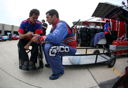 Crew chief Bootie Barker talks with driver Max Papis during practice Friday at Texas Motor Speedway in Fort Worth, Texas. Papis qualified the No. 13 Geico Toyota for Sunday's NASCAR Sprint Cup Series Samsung Mobile 500. (Credit: Jonathan Ferrey/Getty Images for NASCAR)