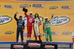 Scott Dixon finished first in the Road Runner Turbo Indy 300 at Kansas Speedway on Saturday, May 1, 2010. Dario Franchitti finished second and Tony Kanaan came in third. (credit: Indy Racing League 
