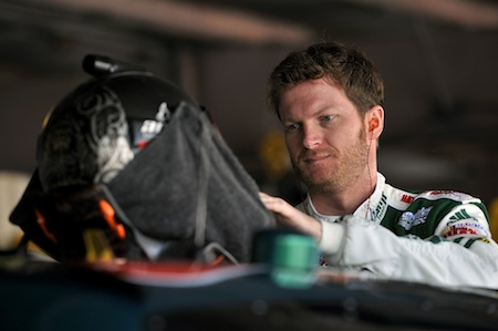 Dale Earnhardt Jr., driver of the No. 88 AMP Energy/National Guard Chevrolet, in the NASCAR Sprint Cup Series garage area at the May 16th event at Dover (Del.) International Speedway (Courtesy Hendrick Motorsports).