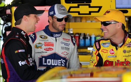 Denny Hamlin, Jimmie Johnson and Kevin Harvick share a laugh during Saturday's practice at the Monster Mile.