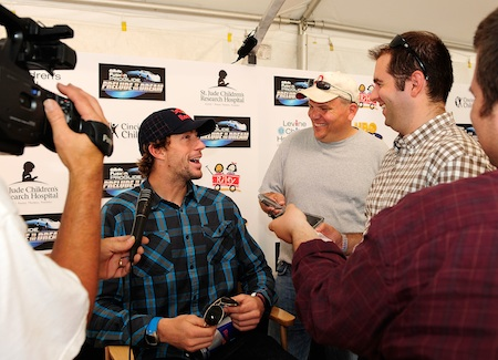Travis Pastrana, driver of the #199 Red Bull late model speaks with the media during the Gillette Fusion ProGlide Prelude to the Dream at Eldora Speedway on June 9, 2010 in Rossburg, Ohio. (Photo by Rusty Jarrett/Getty Images for True Speed Communication)