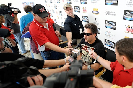 Tony Stewart, driver of the #14, talks to the media during the Gillette Fusion ProGlide Prelude to the Dream at Eldora Speedway on June 9, 2010 in Rossburg, Ohio. (Photo by John Harrelson/Getty Images for True Speed Communication)