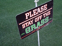AT&T Park - Stay off the grass sign (photo credit: The Fast and the Fabulous)