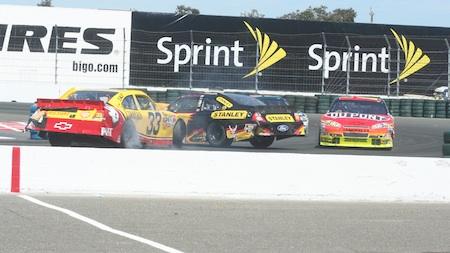 Clint Bowyer (33) gets turned around into the side of Elliot Sadler's car Sunday during the Toyota Save Mart 350 at Infineon Raceway in Sonoma. (photo credit: Tyler Takeda/The Madera Tribune)