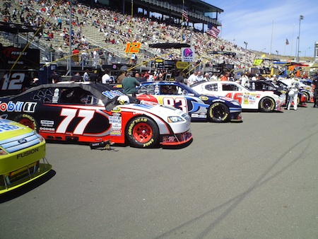 Cars lined up for the start for the Toyota/SaveMart 350