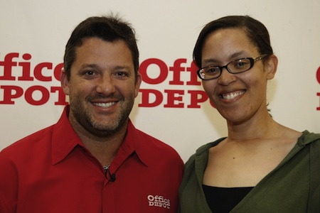 NASCAR driver Tony Stewart with The Fast and the Fabulous blogger, Valli Hilaire (photo courtesy of Office Depot)