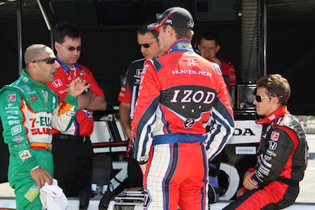 Tony Kanaan, Ryan Hunter Reay and Marco Andretti
