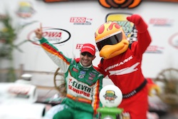 Tony Kanaan in victory lane after winning the Iowa Corn Indy 250 on Sunday, June 20, 2010 (photo credit: Shawn Gritzmacher/IRL)