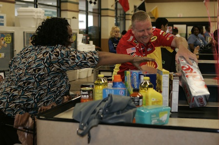 No.29 Pit Crew Competing in Grocery Bagging Challenge in Indy