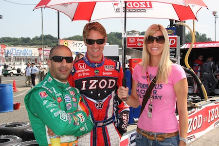 Tony Kanaan with Beccy Gordon and Ryan Hunter Reay