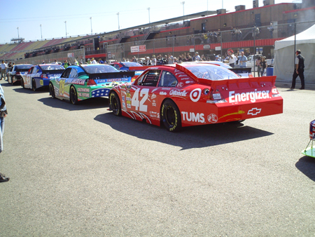 Cars lined up for practice