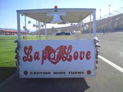 Couples who wed at Auto Club Speedway before the Pepsi Max 400 took a ride on the Lap of Love tram on October 10, 2010