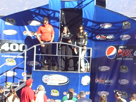 Michael Waltrip, Gillian Zucker and Miss Sprint Cup Monica Palumbo