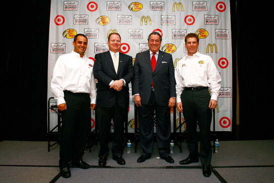 (Left to right) Juan Pablo Montoya, NASCAR Sprint Cup Series driver, team owners Chip Ganassi and Felix Sabates and Jamie McMurray, defending Daytona 500 champion, pose for a picture during the Earnhardt Ganassi Racing stop on the 2011 Sprint Media Tour hosted by Charlotte Motor Speedway on Monday at the Hilton Charlotte University Place in Charlotte, N.C.(Credit: Jason Smith/Getty Images for NASCAR)