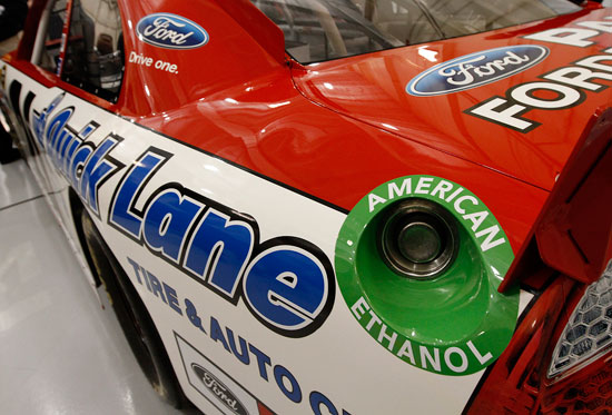The No. 21 Motorcraft Ford proudly displays the new American Ethanol sponsorship around the fuel hole during the NASCAR Sprint Media Tour hosted by Charlotte Motor Speedway, held at the Roush-Fenway hanger of Concord Regional Airport, on Thursday in Concord, N.C. (Credit: Harold Hinson/HHP)