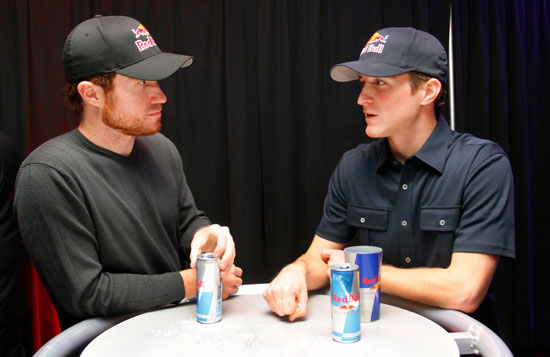 (Left to right) Brian Vickers, driver of the No. 83 Red Bull Toyota, speaks with Kasey Kahne, driver of the No. 4 Red Bull Toyota, during the NASCAR Sprint Media Tour hosted by Charlotte Motor Speedway, held at Hilton University on Tuesday in Charlotte, N.C.(Credit: Jason Smith/Getty Images for NASCAR)
