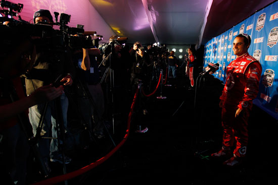NASCAR Sprint Cup Series driver Juan Pablo Montoya answers questions from the local media Thursday at Daytona International Speedway in Daytona Beach, Fla. during media day.