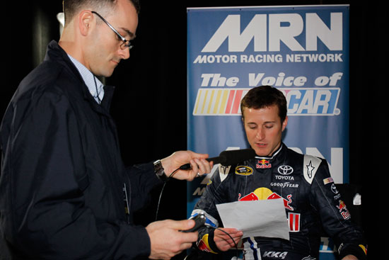 NASCAR Sprint Cup Series driver Kasey Kahne reads liners for MRN during media day Thursday at Daytona International Speedway in Daytona Beach, Fla.(Credit: Todd Warshaw/Getty Images for NASCAR)