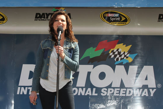 Martina McBride sings the National Anthem before the Daytona 500 at Daytona International Speedway in Daytona Beach, Fla. (Credit: ISC Archives/Getty Images)