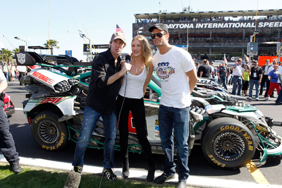 Honorary Grand Marshals Michael Bay, Josh Duhamel and Rosie Huntington-Whiteley give the command to start the engines for the Daytona 500 at Daytona International Speedway in Daytona Beach, Fla. (Credit: Brandon Goodman/Getty Images for NASCAR)