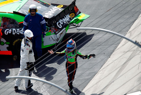 Danica Patrick shows her frustration after an incident on lap 248 during the Scotts EZ Seed 300 at Bristol Motor Speedway (Credit: Geoff Burke/Getty Images for NASCAR)