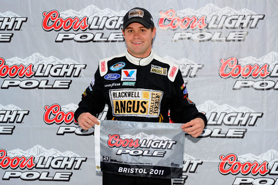Ricky Stenhouse Jr celebrates winning the Coors Light Pole Award for the NASCAR Nationwide Scotts EZ Seed 300 at Bristol Motor Speedway. (Credit: Jared C. Tilton/Getty Images for NASCAR)
