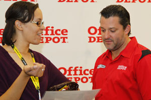 This is me explaining the 2011 Hottest Driver Tournament brackets to Tony Stewart