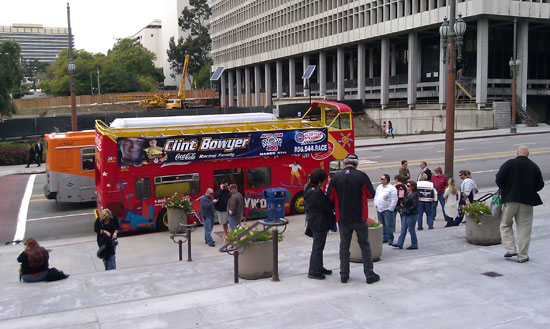 The double-decker tour bus that took us on our hollywood tour
