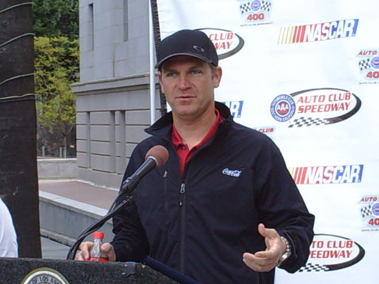 Clint Bowyer answers questions on the steps of City Hall in Los Angeles