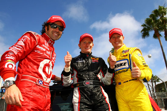 Dario Franchitti (3rd place), Mike Conway (winner!), and Ryan Briscoe (2nd place)