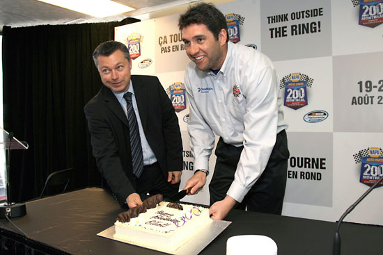 François Dumontier, president, NAPA Auto Parts 200 presented by Dodge, presents Elliott Sadler with a birthday cake in Montreal. Sadler's 36th birthday is April 30. (Credit: Muriel Broussseau Photo)