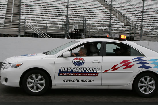 Rachel Gilbert drives 100 mph down the frontstretch at New Hampshire International Speedway. (Credit: Jonathan Stallsmith)