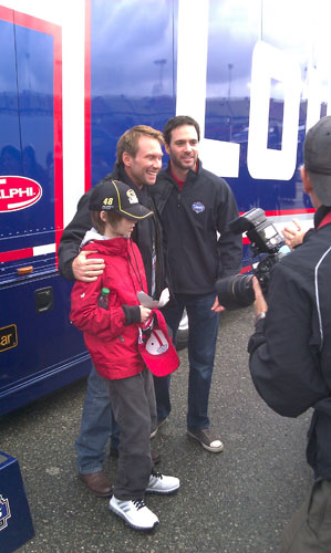 Christian Slater with his son, Jaden, and Jimmie Johnson
