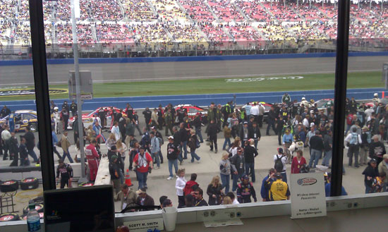Pre-race pit road insanity view from the press box