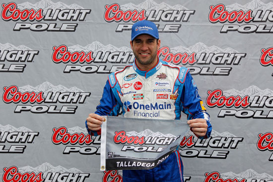 Elliott Sadler celebrates winning his seventh career NASCAR Nationwide Series Coors Light Pole Award with a 179.558 mph lap on Friday at Talladega Superspeedway in Talladega, Ala. (Credit: Getty Images for NASCAR)