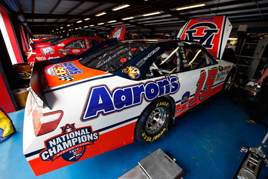 Michael Waltrip will start 12th on Sunday in the No.15 Aaron's/Auburn National Champions Toyota at Talladega Superspeedway (Credit: Chris Graythen/Getty Images)