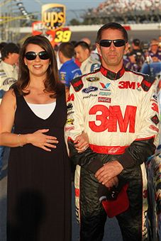 Greg Biffle, driver of the #16 3M Ford, stands on the grid with his wife Nicole Biffle prior to the start of the NASCAR Sprint Cup Series SHOWTIME Southern 500 at Darlington Raceway on May 7, 2011 in Darlington, South Carolina. (Photo by Jerry Markland/Getty Images for NASCAR)