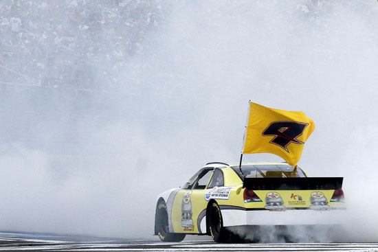Kasey Kahne was the first winner of the day at Charlotte Motor Speedway, winning the Pennzoil Ultra Victory Challenge, AKA the burnout contest. (Credit: Jason Smith/Getty Images for NASCAR)