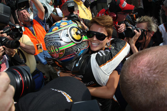 Alex Tagliani celebrates with his wife Bronte